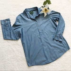 C. Wonder Chambray Popover Shirt Top Blue C24